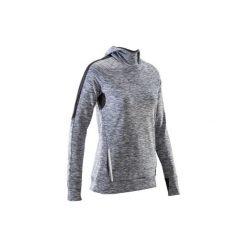 Bluza do biegania długi rękaw RUN WARM HOOD damska. Szare długie bluzy damskie marki KALENJI, z elastanu, z długim rękawem. Za 69,99 zł.