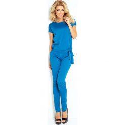 Kombinezony damskie: Niebieski Kombinezon Elegancki Wieczorowy