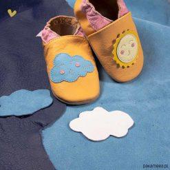 SKÓRZANE BUCIKI baBice słoneczko i chmurka. Szare buciki niemowlęce chłopięce Pakamera, z materiału. Za 70,00 zł.
