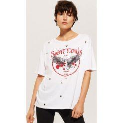 T-shirt oversize - Biały. Białe t-shirty damskie marki House, l. W wyprzedaży za 25,99 zł.
