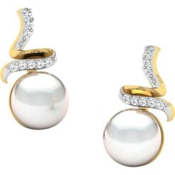 Kolczyki damskie: Złote kolczyki-wkrętki z diamentami i sztucznymi perłami