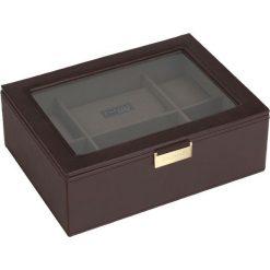 Pudełko na zegarki ze szklaną pokrywką Stackers brązowo-khaki. Brązowe zegarki damskie Stackers. Za 294,00 zł.