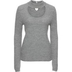 Sweter ze stójką bonprix jasnoszary melanż. Szare swetry klasyczne damskie bonprix, z chokerem. Za 89,99 zł.