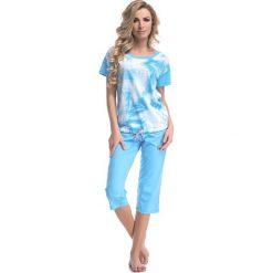Piżamy damskie: Piżama w kolorze niebieskim - t-shirt, spodnie