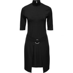 Sukienka shirtowa z założeniem kopertowym bonprix czarny. Czarne sukienki na komunię marki Mohito, m, z kontrastowym kołnierzykiem. Za 79,99 zł.