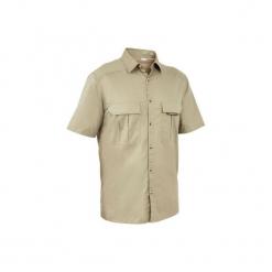 Koszula myśliwska krótki rękaw 100. Brązowe koszule męskie na spinki marki LIGNE VERNEY CARRON, m, z bawełny. Za 49,99 zł.
