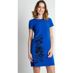 Sukienki: Niebieska sukienka z krótkim rękawem  BIALCON