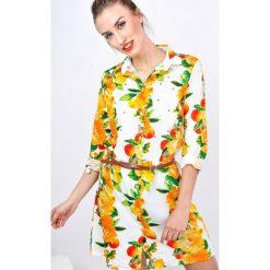 Sukienki: Sukienka koszulowa w pomarańczowe kwiaty z paskiem