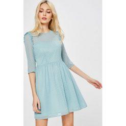 Answear - Sukienka Wild Nature. Szare sukienki balowe marki ANSWEAR, l, z poliesteru, z okrągłym kołnierzem, mini, rozkloszowane. W wyprzedaży za 99,90 zł.
