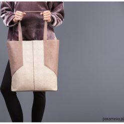 CARMEN - duża torba skórzana - beż i brąz. Brązowe torebki klasyczne damskie Pakamera, ze skóry, duże. Za 719,00 zł.