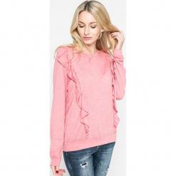 Answear - Bluzka. Różowe bluzki asymetryczne ANSWEAR, l, z bawełny, casualowe, z okrągłym kołnierzem. W wyprzedaży za 34,90 zł.