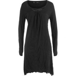 Sukienka kreszowana, długi rękaw bonprix czarny. Niebieskie długie sukienki marki bonprix, z nadrukiem. Za 49,99 zł.