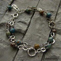 Jaspis turkusowo-brązowy - bransoletka. Brązowe bransoletki damskie na nogę Pakamera. Za 144,00 zł.