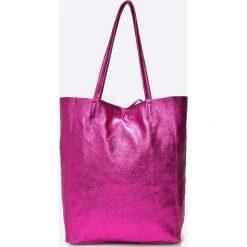 Answear - Torebka skórzana Violet Kiss. Różowe shopper bag damskie ANSWEAR, z materiału, do ręki, duże. W wyprzedaży za 139,90 zł.