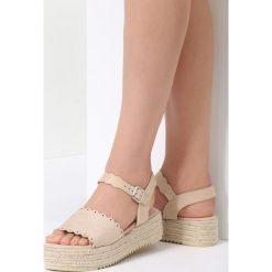 Beżowe Sandały Toxic. Brązowe sandały damskie marki vices, z materiału, ze szpiczastym noskiem, na wysokim obcasie, na obcasie. Za 69,99 zł.