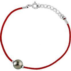 Bransoletki damskie na nogę: Bransoletka w kolorze czerwonym z perłą