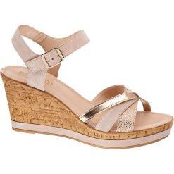 Sandały damskie: sandały na koturnie 5th Avenue różowe