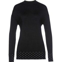 Sweter z ozdobnymi kamieniami bonprix czarny. Niebieskie swetry klasyczne damskie marki ARTENGO, z elastanu, ze stójką. Za 44,99 zł.
