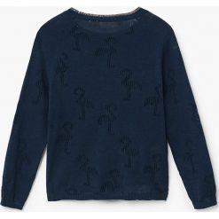 Mango Kids - Sweter dziecięcy Flamingo 110-164 cm. Czarne swetry dziewczęce Mango Kids, z bawełny, z okrągłym kołnierzem. Za 89,90 zł.