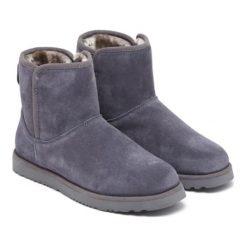 Skórzane botki w kolorze szarym. Szare buty zimowe damskie Carla Samuel, na zimę. W wyprzedaży za 269,95 zł.