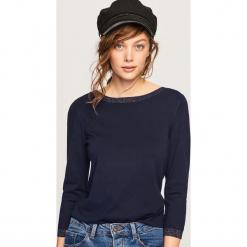 Lekki sweter z brokatową nitką - Granatowy. Niebieskie swetry klasyczne damskie Reserved, l. Za 59,99 zł.