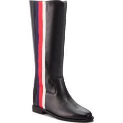 Kozaki HEGO'S MILANO - 1069 Vitello Nero/Nastro. Czarne buty zimowe damskie marki Kazar, ze skóry, na wysokim obcasie. W wyprzedaży za 509,00 zł.