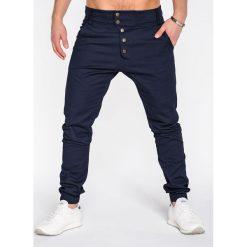 SPODNIE MĘSKIE JOGGERY P480 - GRANATOWE. Niebieskie joggery męskie Ombre Clothing, z bawełny. Za 84,00 zł.