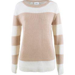 Sweter bonprix biel wełny - cielisty. Białe swetry klasyczne damskie bonprix, z wełny, z okrągłym kołnierzem. Za 74,99 zł.