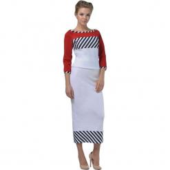Zestaw w kolorze czerwono-białym - bluzka, spódnica. Białe długie spódnice Lila Kass, xxs, w paski, proste. W wyprzedaży za 219,95 zł.