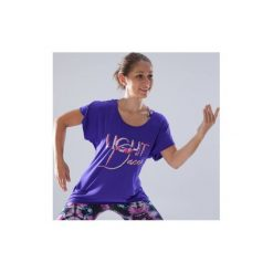 Koszulka do tańca krótki rękaw damska. Czerwone bluzki sportowe damskie marki DOMYOS, z elastanu, z dekoltem na plecach. Za 49,99 zł.