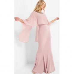 Sukienka maxi z peleryną. Czarne długie sukienki marki Orsay, na imprezę, z dzianiny, wizytowe, z okrągłym kołnierzem, dopasowane. Za 229,99 zł.