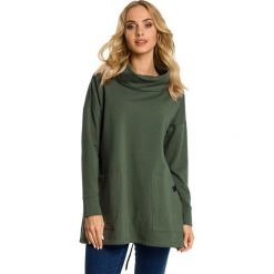 Bluzy damskie: Khaki Bluza z Nakładanymi Kieszeniami