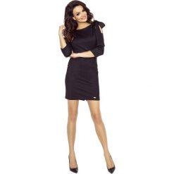 Sukienki hiszpanki: Czarna Mini Sukienka z Modnymi Detalami