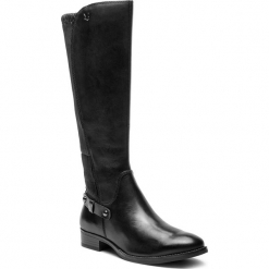 Oficerki CAPRICE - 9-25521-21 Black Nappa 022. Czarne buty zimowe damskie Caprice, z materiału. W wyprzedaży za 399,00 zł.
