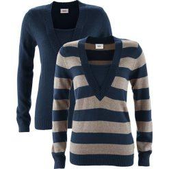 Sweter (2 szt. w opak.) bonprix ciemnoniebieski w paski + ciemnoniebieski. Zielone swetry klasyczne damskie marki bonprix, w kropki, z kopertowym dekoltem, kopertowe. Za 89,98 zł.