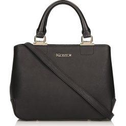 Czarna torebka do ręki. Czarne torebki klasyczne damskie Kazar, w paski, ze skóry. Za 699,00 zł.