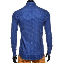KOSZULA MĘSKA Z DŁUGIM RĘKAWEM K412 - JASNOGRANATOWA. Brązowe koszule męskie marki Ombre Clothing, m, z aplikacjami, z kontrastowym kołnierzykiem, z długim rękawem. Za 49,00 zł.