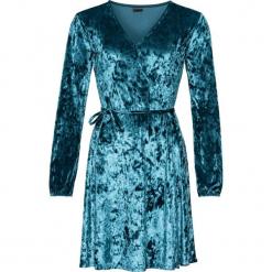 Sukienka aksamitna z efektem założenia kopertowego bonprix niebieskozielony morski. Brązowe sukienki na komunię marki Mohito, l, z kopertowym dekoltem, kopertowe. Za 129,99 zł.