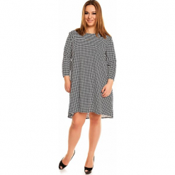 Trapezowa Sukienka w Pepitkę PLUS SIZE. Szare sukienki z falbanami marki Molly.pl, na co dzień, plus size, ze skóry, casualowe, plus size, z długim rękawem, trapezowe. Za 169,90 zł.