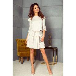 Sukienki: MEGGI sukienka z trzema falbanami beż jasny