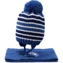 Czapka dziecięca z szalikiem CZ+S 020D niebieska r. 46-48. Niebieskie czapeczki niemowlęce Proman. Za 45,25 zł.