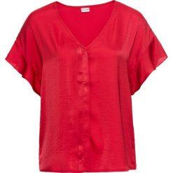 Bluzka z rękawami z falbanami bonprix czerwony. Czerwone bluzki z odkrytymi ramionami bonprix, z dekoltem w serek, z krótkim rękawem. Za 49,99 zł.