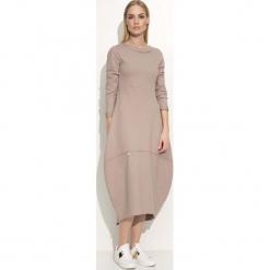 Cappuccino Sukienka Asymetryczna Bombka Midi z Długim Rękawem. Szare sukienki asymetryczne marki bonprix, melanż, z dresówki, z kapturem, z długim rękawem, maxi. Za 95,90 zł.