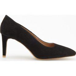 Skórzane czółenka na wysokim obcasie - Czarny. Białe buty ślubne damskie marki Reserved, l, z dzianiny. Za 249,99 zł.