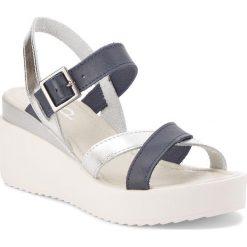 Sandały damskie: Sandały DOLCE PIETRO – 01095-009-01-1 Granatowy Srebrny