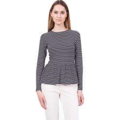 Bluzki asymetryczne: Dzianinowa bluzka w paski z baskinką BIALCON
