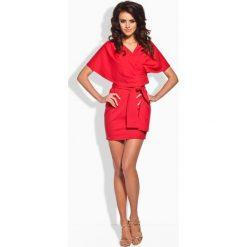 Sukienki: Seksowna sukienka z oryginalnym dekoltem czerwony