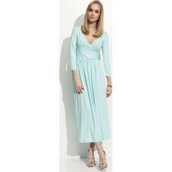 Długie sukienki: Miętowa  Sukienka Wizytowa Długa z Kopertowym Dekoltem