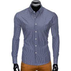 KOSZULA MĘSKA W KRATĘ Z DŁUGIM RĘKAWEM K426 - GRANATOWA/BIAŁA. Brązowe koszule męskie marki Ombre Clothing, m, z aplikacjami, z kontrastowym kołnierzykiem, z długim rękawem. Za 49,00 zł.