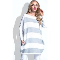 Odzież damska: Szara Tunika Swetrowa Oversize w Pasy